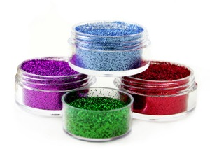 glitters in plastic tubs